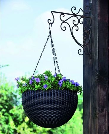 Okrągła doniczka Keter Hanging Sphere Planter grafit