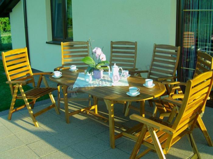 Meble ogrodowe drewniane  stół rozkładany owalny 190cm  Meble