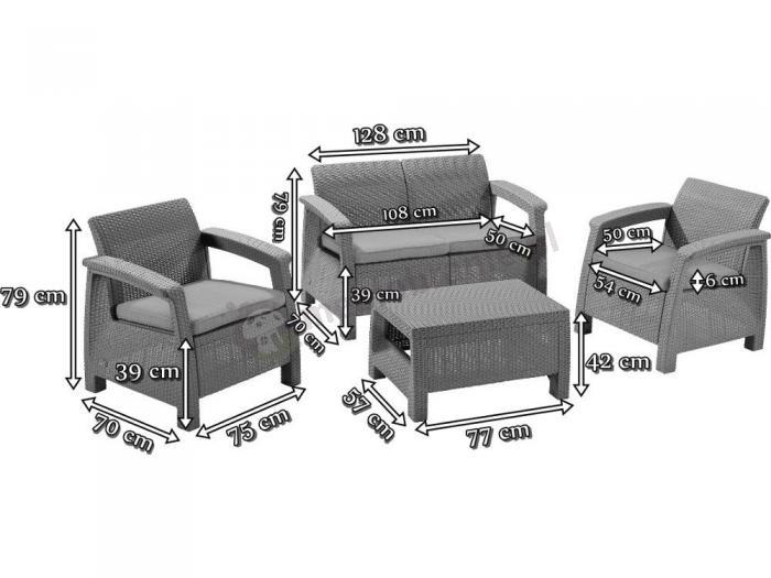Zestaw Mebli Ogrodowych Corfu Set : Zestaw mebli ogrodowych CORFU Set CURVER wymiary
