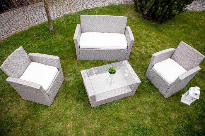Meble Ogrodowe Zestaw Modena Lounge Set : Komplet mebli z technorattanu Lugo Szary  Meble Ogrodowe