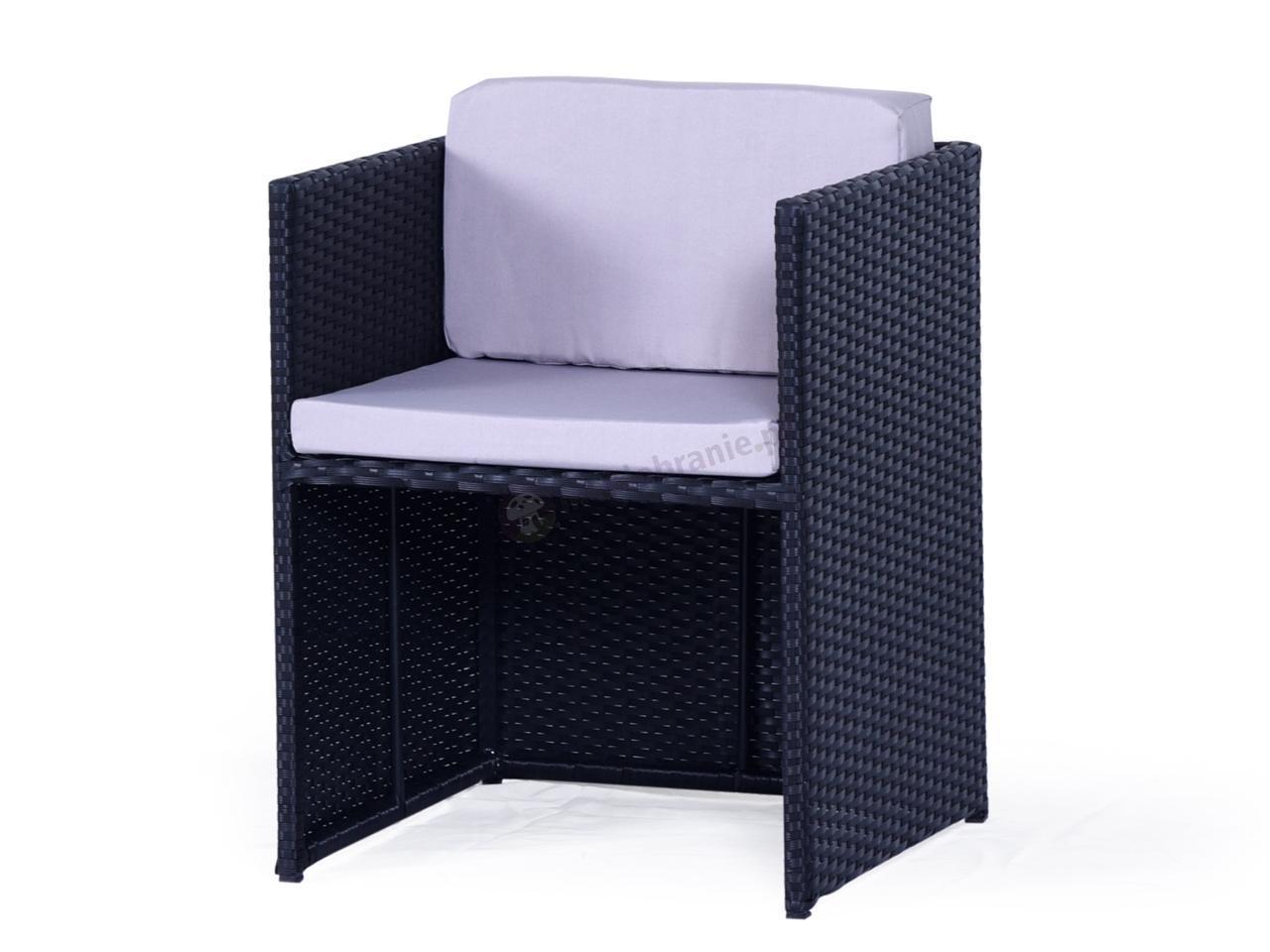 Fotel z technorattanu Cubioso Black Along & Taupe