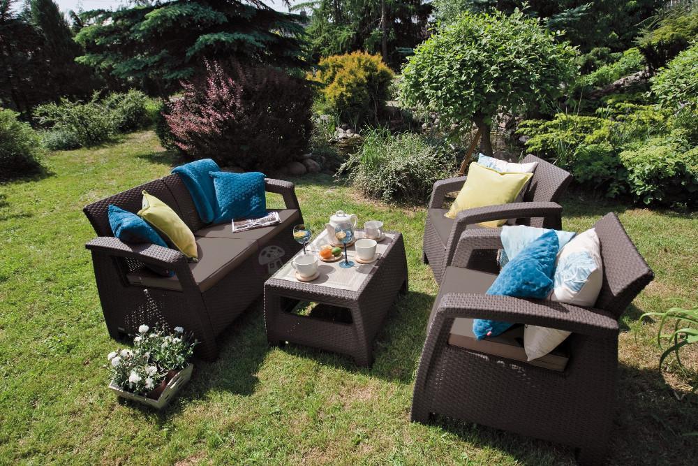 Zestaw Mebli Ogrodowych Corfu Fiesta : Curver Corfu Set Max  brązowy zestaw ogrodowy z 3 osobową sofą