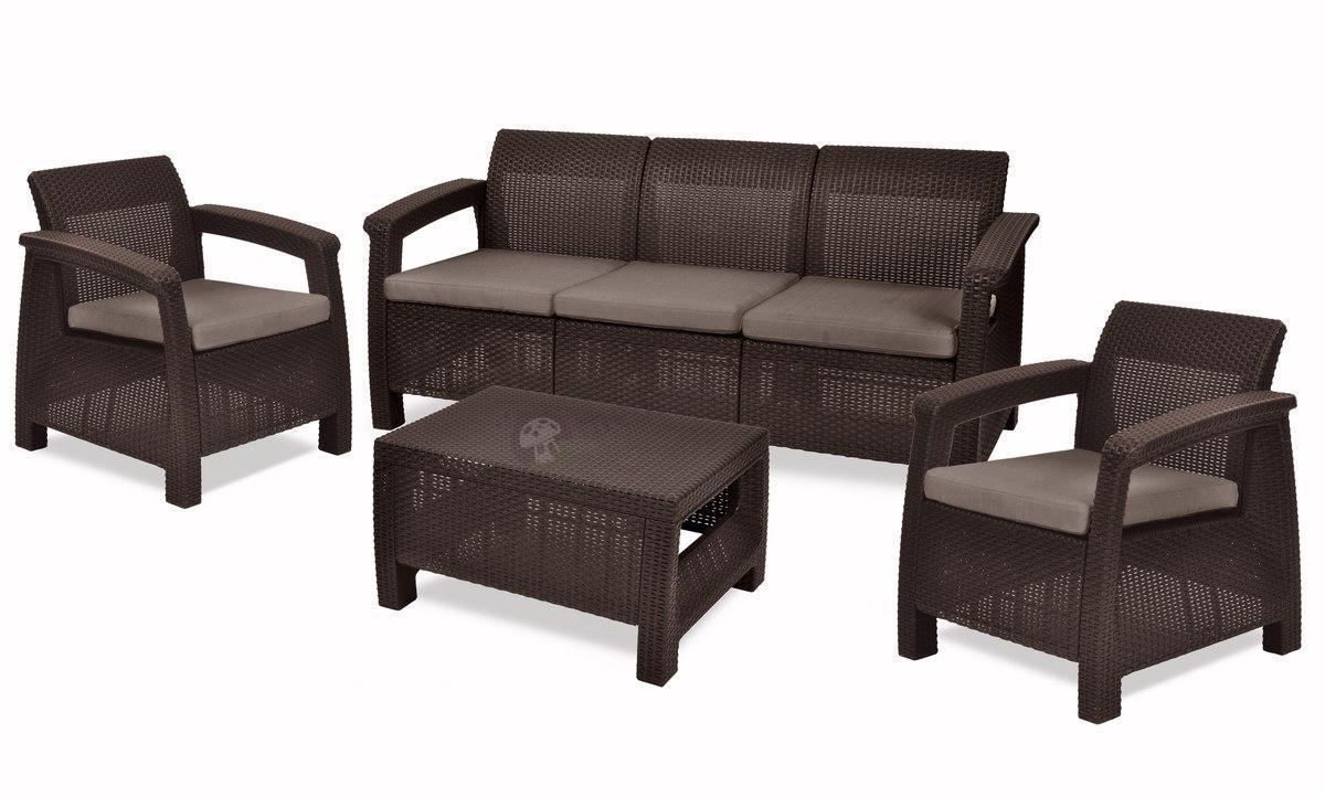 Corfu Set Max  brązowy zestaw ogrodowy z 3 osobową sofą  Meble