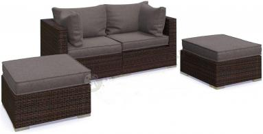 Meble ogrodowe technorattan NILAMITO Sofa II Brown & Grey