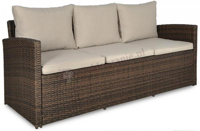 Sofa trzyosobowa technorattan Stelvio Brown