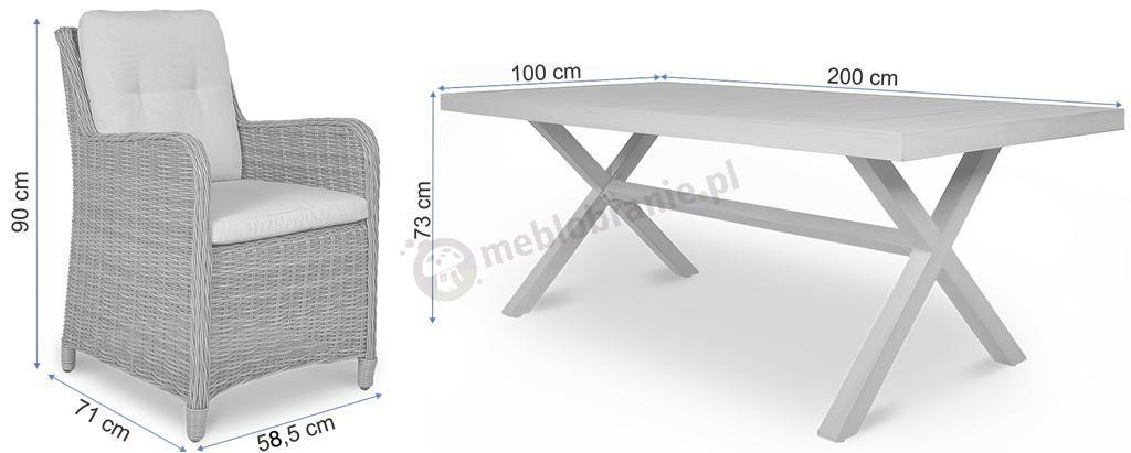 Duży Zestaw Mebli Z Technorattanu Cordoba Grey Stół 200 Cm I 6 Foteli