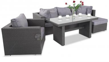 Meble Obiadowe NILAMITO V PLUS Anthracite & Blue Grey + fotel