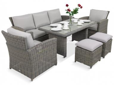 Camino Dining Grey z pufami meble z technorattanu